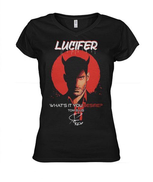 Lucifer What's it you desire Tom Ellis V-neck
