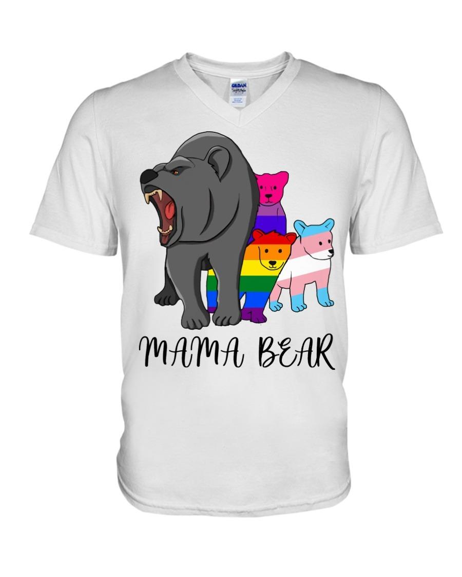 Mama Bear V-neck sublimation mama bear tshirt |Mama shirt bella and canvas Crew neck