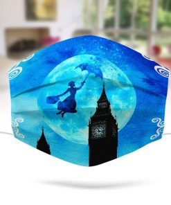 Mary Poppins flying umbrella London face mask 0