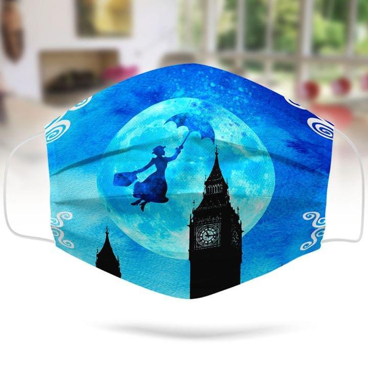 Mary Poppins flying umbrella London face mask 0
