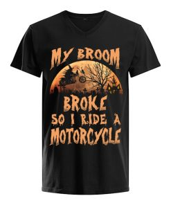 My broom broke so now I ride a motorcycle v-neck