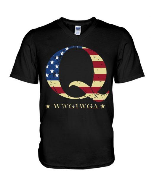 QAnon Flag WWG1WGA Q V-neck