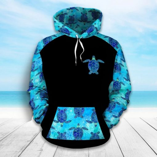 Sea turtles pattern 3D hoodie