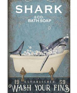 Shark Bath Soap Company Wash Your Fins vintage poster
