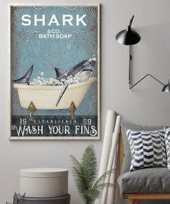 Shark Bath Soap Company Wash Your Fins vintage poster1