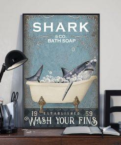 Shark Bath Soap Company Wash Your Fins vintage poster2