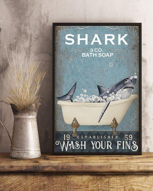 Shark Bath Soap Company Wash Your Fins vintage poster3