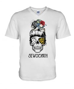 Skull Lady Sewing Sewciopath v-neck