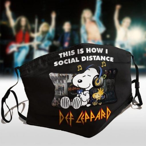 Snoopy This is how I social distance Def Leppard face mask 0