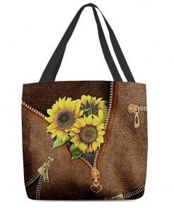 Sunflowers Leather Zipper All Over Print Tote Bag