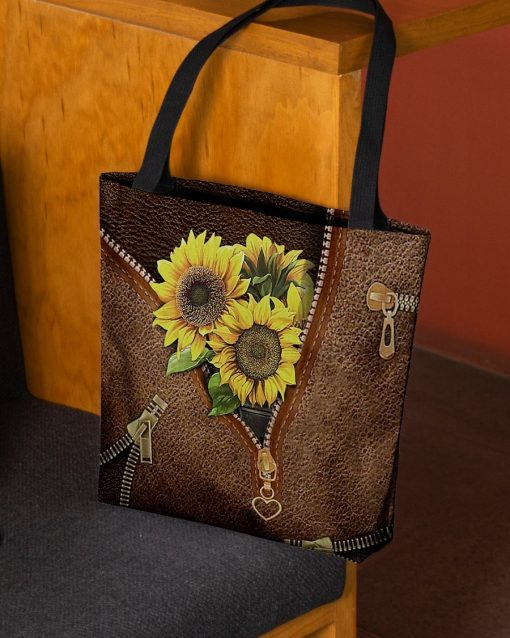 Sunflowers Leather Zipper All Over Print Tote Bag2