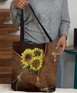 Sunflowers Leather Zipper All Over Print Tote Bag4