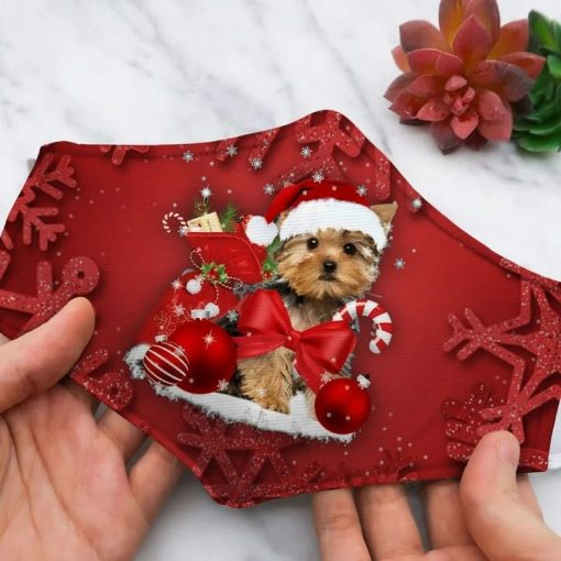 The Yorkshire Terrier dog Christmas face mask 1