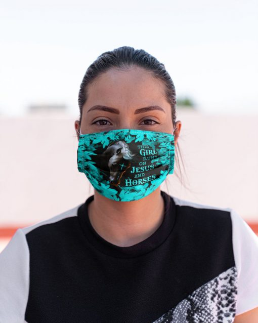 This girl runs on Jesus and horses face mask 0