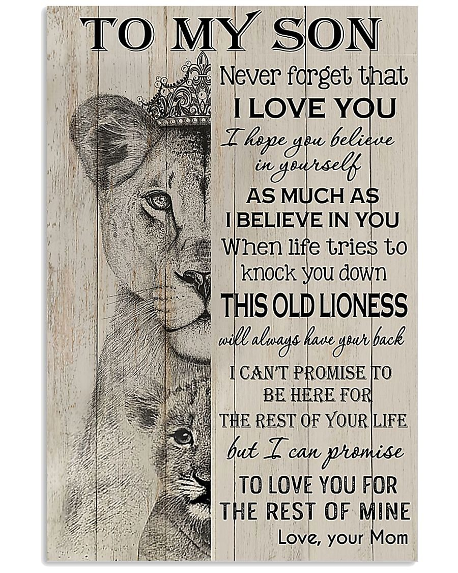 Amazing To my son Never forget that I love you when life tries to knock you down this old lioness will always have your back poster