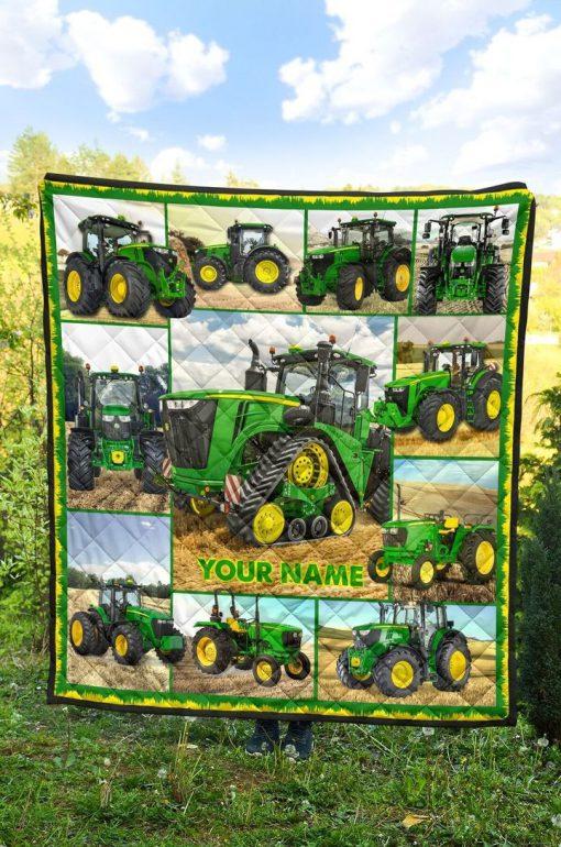 Tractor Farmer personalized fleece blanket