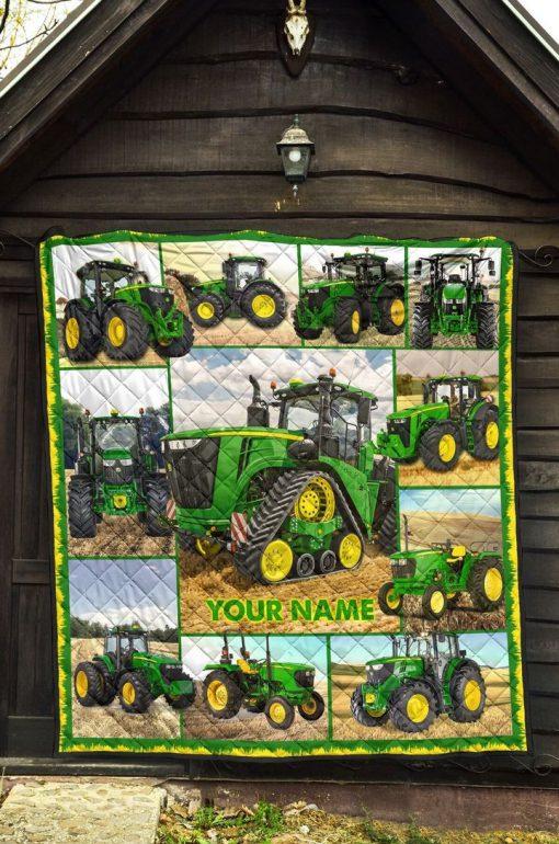 Tractor Farmer personalized fleece blanket1