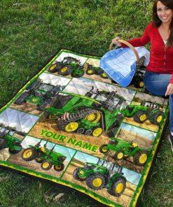 Tractor Farmer personalized fleece blanket2