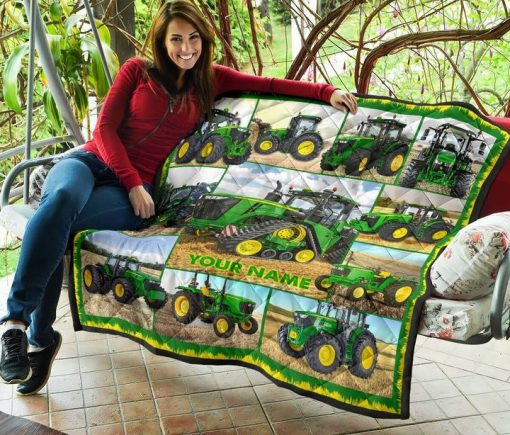 Tractor Farmer personalized fleece blanket4