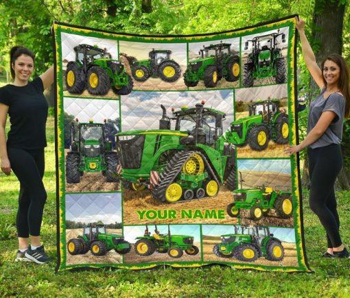 Tractor Farmer personalized fleece blanketa