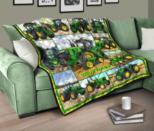 Tractor Farmer personalized fleece blanketb