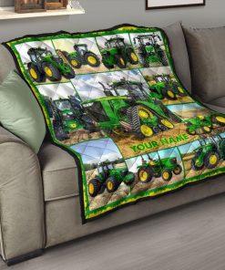 Tractor Farmer personalized fleece blanketc