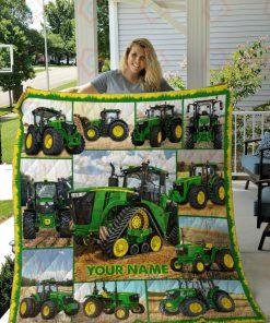 Tractor Farmer personalized fleece blankete