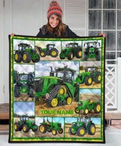 Tractor Farmer personalized fleece blanketh