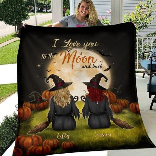 Witch besties I love you to the moon and back personalized fleece blanket