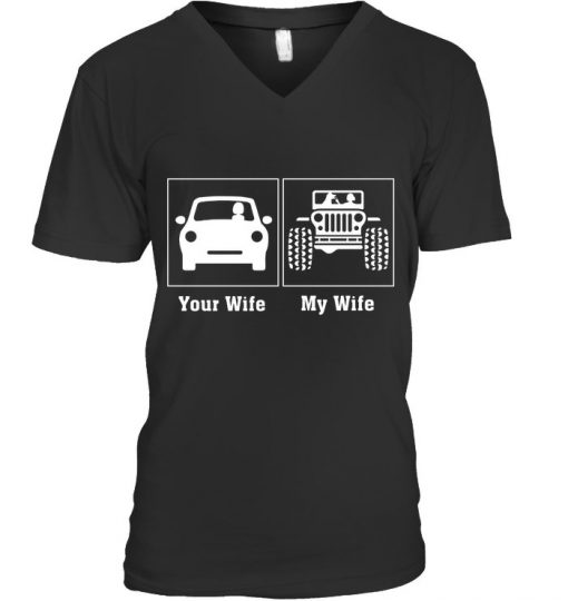 Your Wife - My Wife Dog And Jeep V-neck
