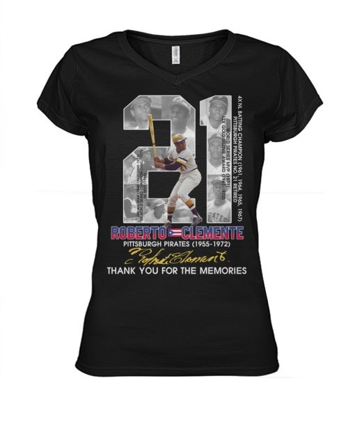 21 Roberto Clemente Pittsburgh Pirates Thank you for the memories V-neck