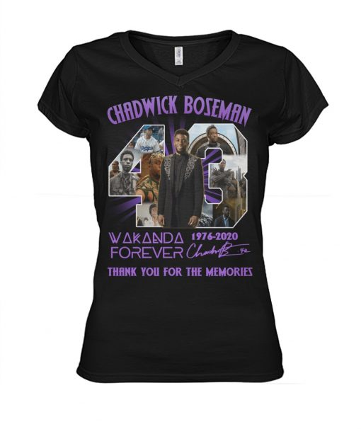 43 Chadwick Boseman 1976-2020 Wakanda Forever Thank you for the memories v-neck