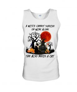 A witch cannot survive on wine alone She also needs a cat Halloween Tank top