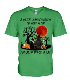 A witch cannot survive on wine alone She also needs a cat Halloween V-neck