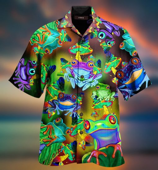 Amazing Frogs And Mushrooms Hawaiian Shirt