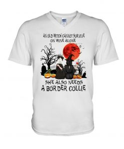 An old witch cannot survive on wine alone She also needs a Border Collie v-neck