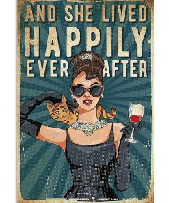 And she lived happily ever after Cat and Wine poster