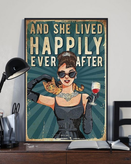And she lived happily ever after Cat and Wine poster2