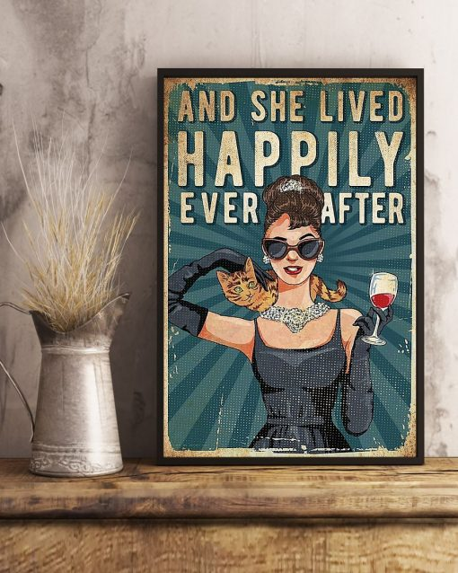 And she lived happily ever after Cat and Wine poster3