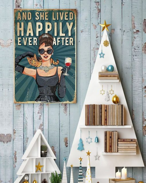 And she lived happily ever after Cat and Wine poster4
