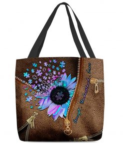 Autism Accept Understand Love Sunflower as Leather Zipper tote bag1