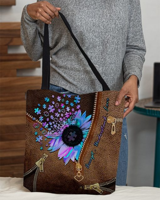 Autism Accept Understand Love Sunflower as Leather Zipper tote bag3