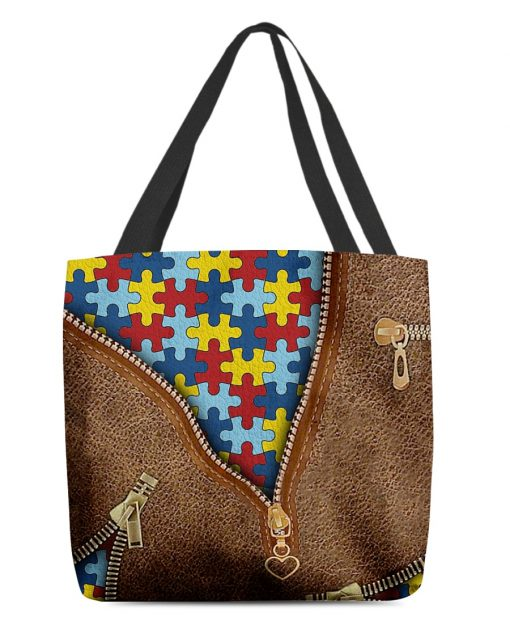 Autism as Leather Zipper tote bag 1