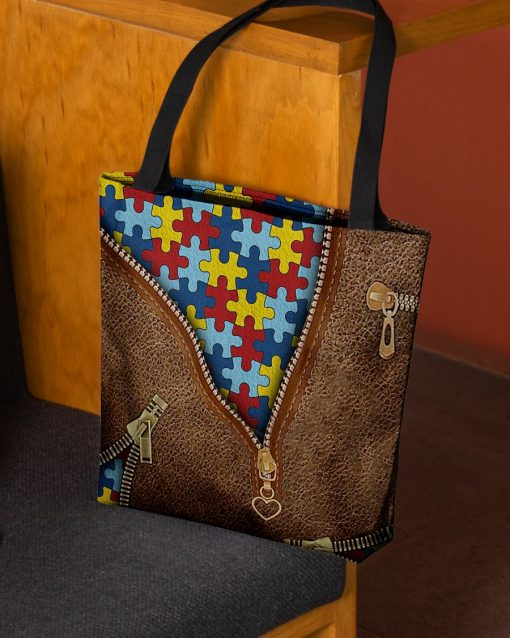 Autism as Leather Zipper tote bag 2