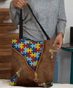 Autism as Leather Zipper tote bag 3