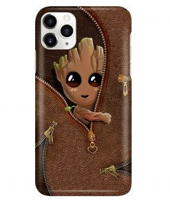 Baby Groot as Leather Zipper phone case1