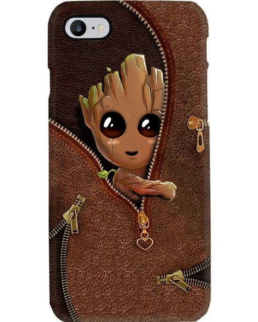 Baby Groot as Leather Zipper phone case2