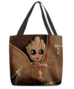 Baby Groot as Leather Zipper tote bag
