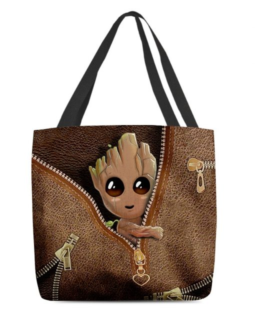 Baby Groot as Leather Zipper tote bag1