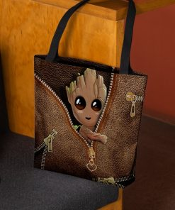Baby Groot as Leather Zipper tote bag2